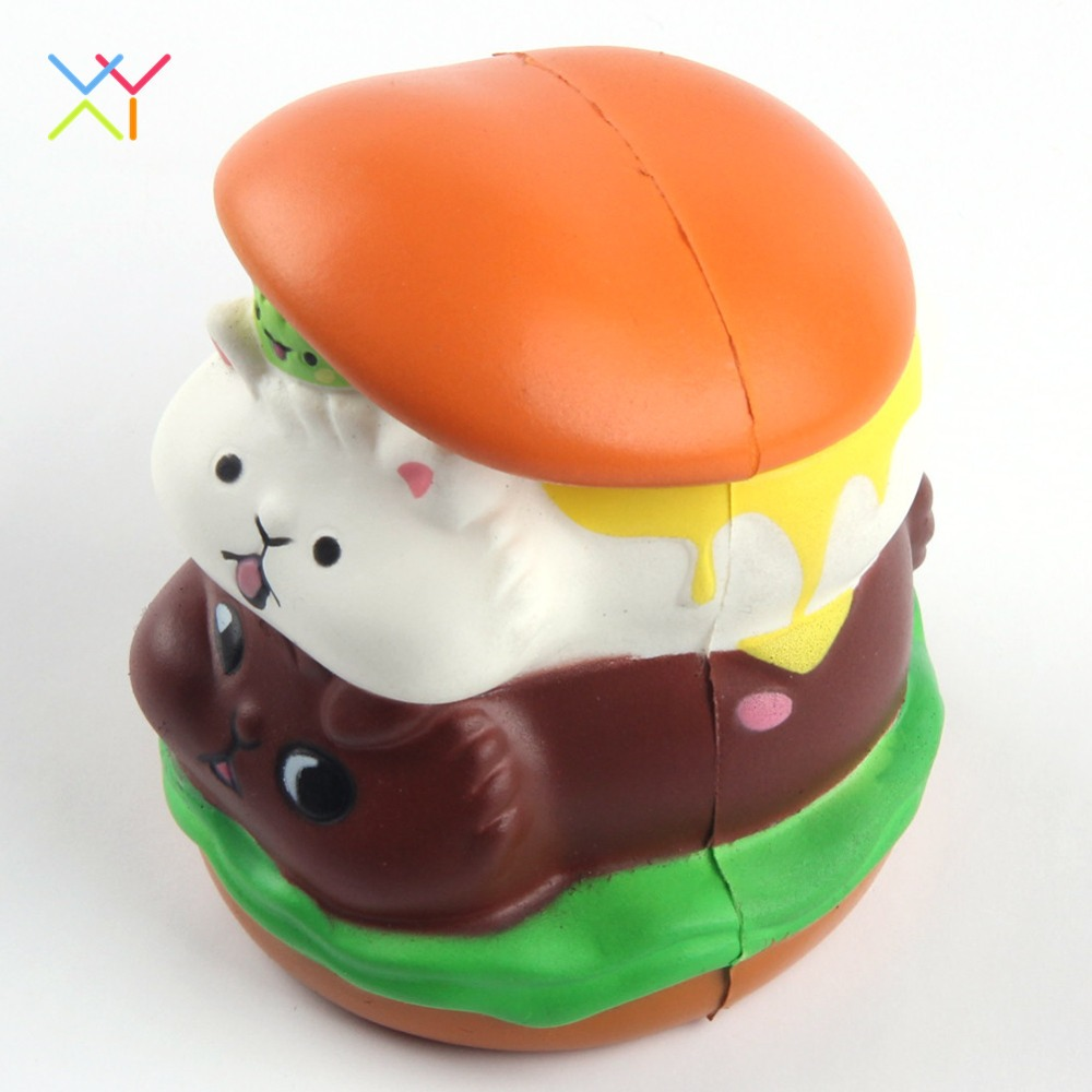 Soft pu foam food toys animal hamburger slow rising squishy for promotion