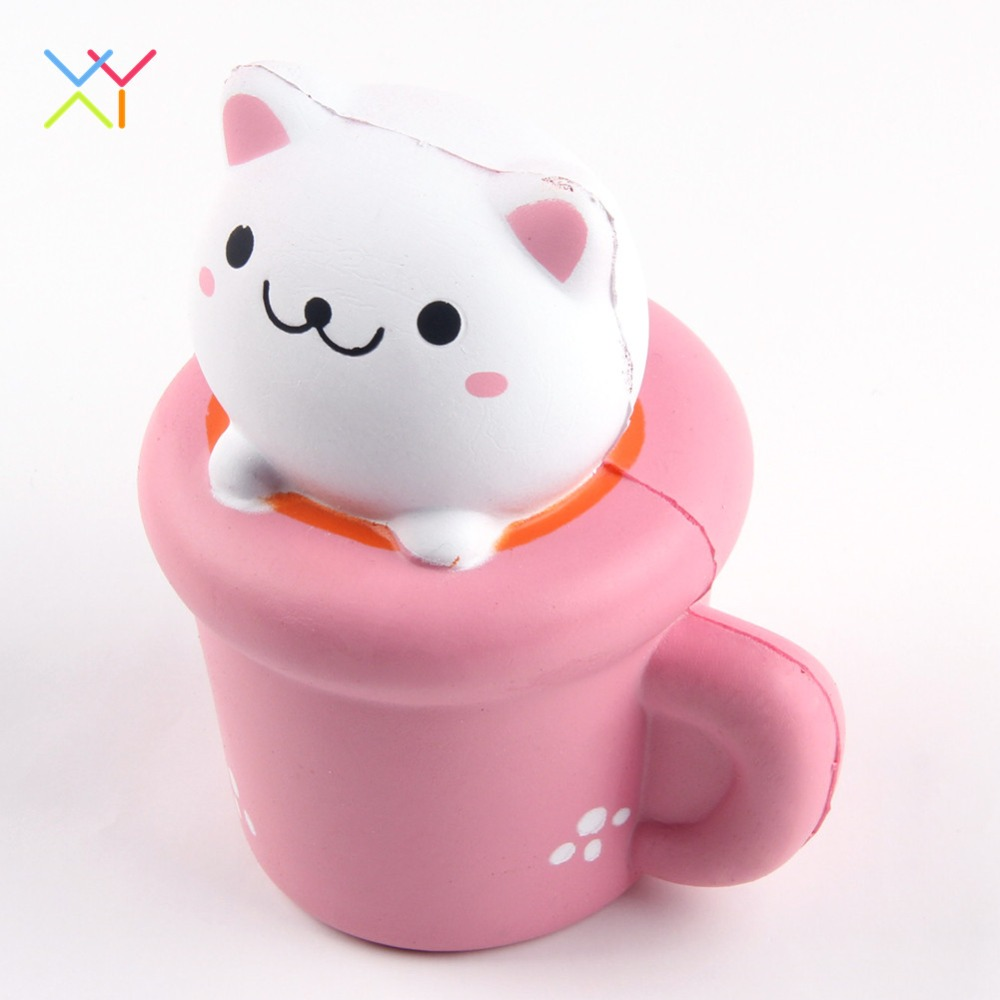 New design super slow rising animal squishy cup cat shape toy