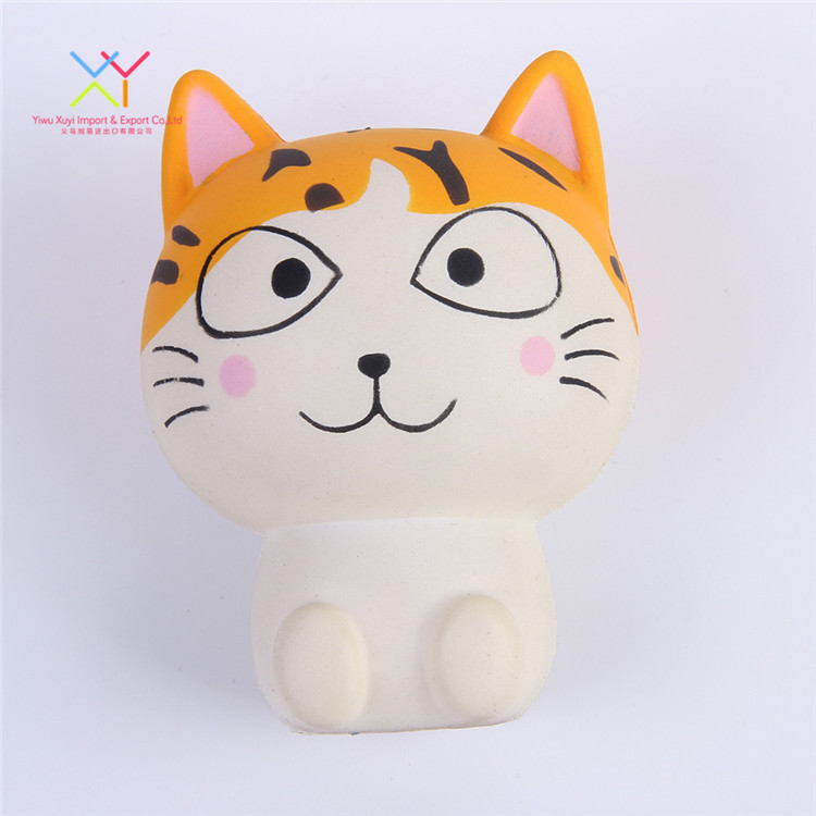 Wholesale customized yellow funny cat animal shape stress ball