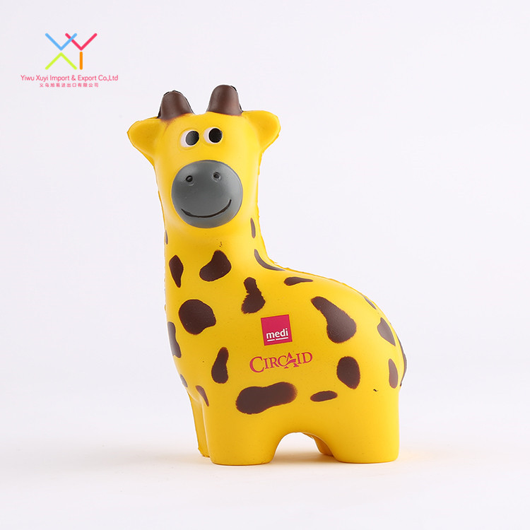 Top quality pu giraffe animal shape stress balls promotional gifts animal stress ball for stress reliever