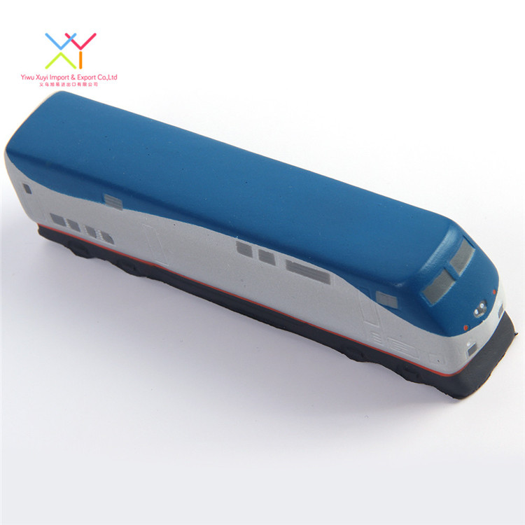 Factory supply attractive price stress ball, blue train shaped stress ball