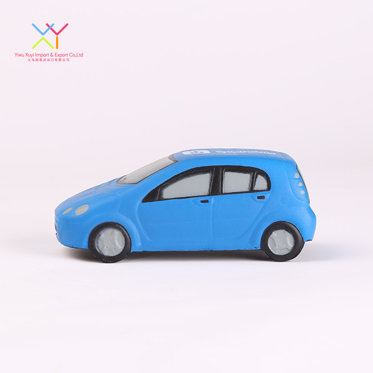 Hot selling custom toys for baby, soft pu foam blue car shaped stress ball
